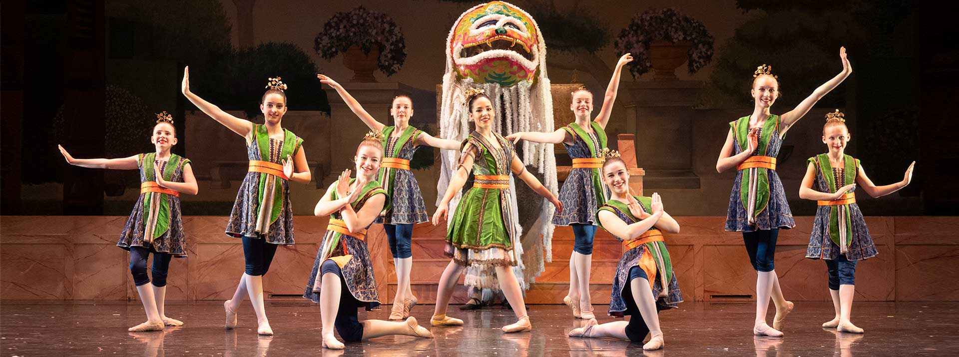 The Nutcracker schedule at the Garden city Ballet - dancers on stage